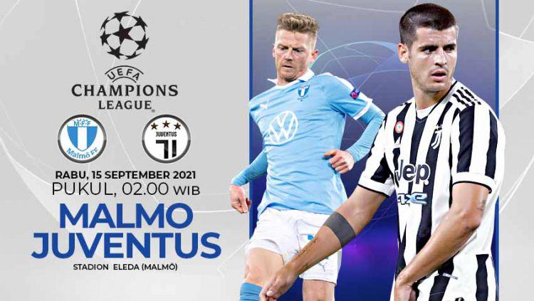 Berikut link live streaming pertandingan matchday pertama Grup H Liga Champions 2021-2022 antara Malmo FF vs Juventus , Rabu (15/09/21) 02:00 dini hari WIB. Copyright: © Grafis:Yanto/Indosport.com