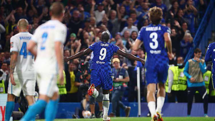 Selebrasi gol Romelu Lukaku di laga Liga Champions Chelsea vs Zenit St Petersburg. Copyright: © REUTERS