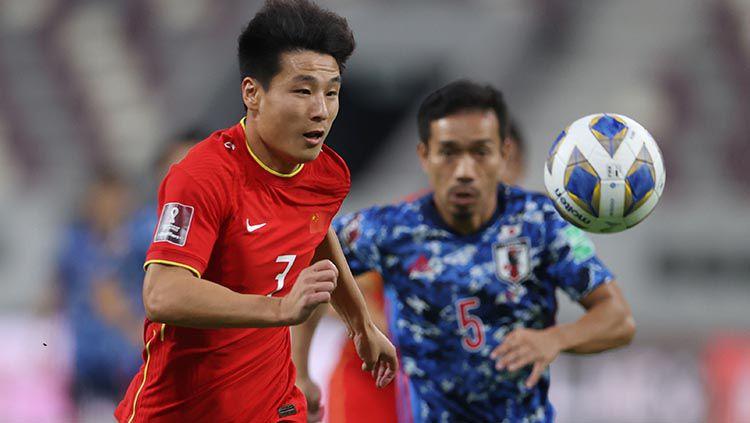 Striker Timnas China, Wu Lei, di Kualifikasi Piala Dunia 2022. Copyright: © REUTERS