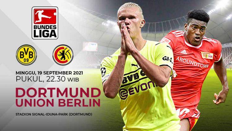 Prediksi pertandingan Bundesliga Jerman antara Borussia Dortmund vs Union Berlin, yang bakal digelar pada Minggu (19/09/21) malam WIB. Copyright: © Grafis: Yuhariyanto/Indosport.com