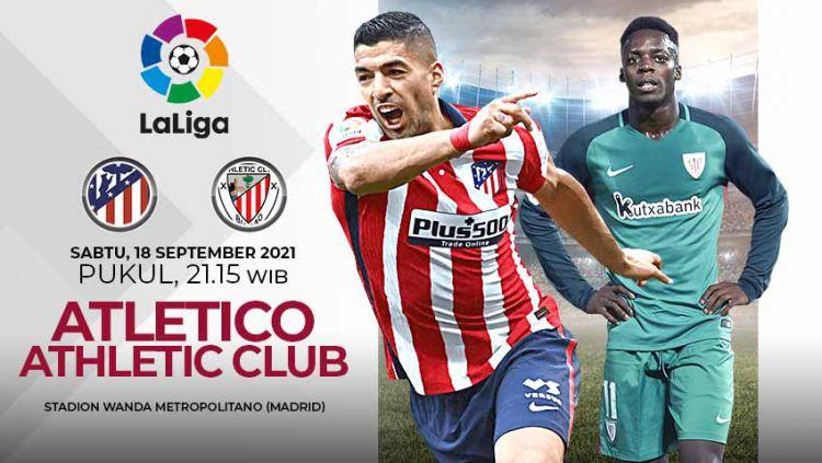 Berikut link live streaming pertandingan lanjutan pekan kelima Liga Spanyol musim 2021-2022 antara Atletico Madrid vs Athletic Bilbao. Copyright: © Grafis: Yuhariyanto/Indosport.com
