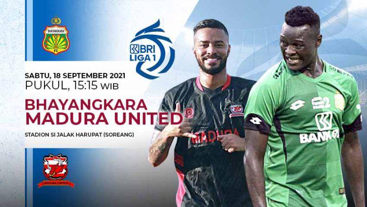 Berikut link live streaming pertandingan BRI Liga 1 musim 2021-2022 antara Bhayangkara FC vs Madura United. Copyright: © Grafis: Yuhariyanto/Indosport.com
