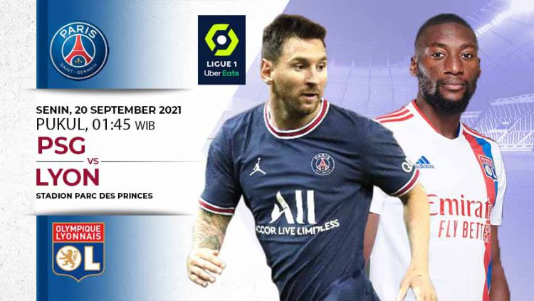 Pertandingan Ligue 1 Prancis 2021-2022 antara Paris Saint-Germain (PSG) vs Olympique Lyon bisa disaksikan secara live streaming, Senin (20/09/21). Copyright: © INDOSPORT