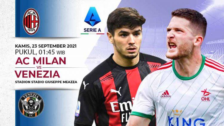 Berikut prediksi pertandingan pekan kelima Liga Italia 2021/2022 antara AC Milan vs Venezia. Laga ini akan dimainkan di Stadion San Siro, Kamis (23/09/21). Copyright: © INDOSPORT