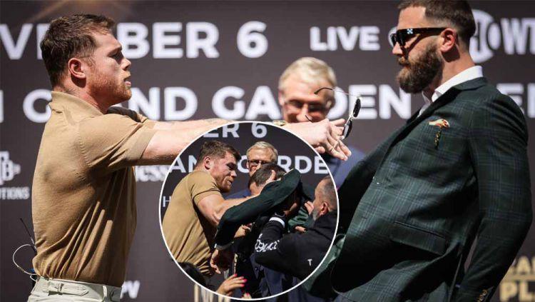 Momen ricuh Saul Alvarez vs Caleb Plant di sesi konferensi pers Copyright: © Twitter@ShowtimeBoxing