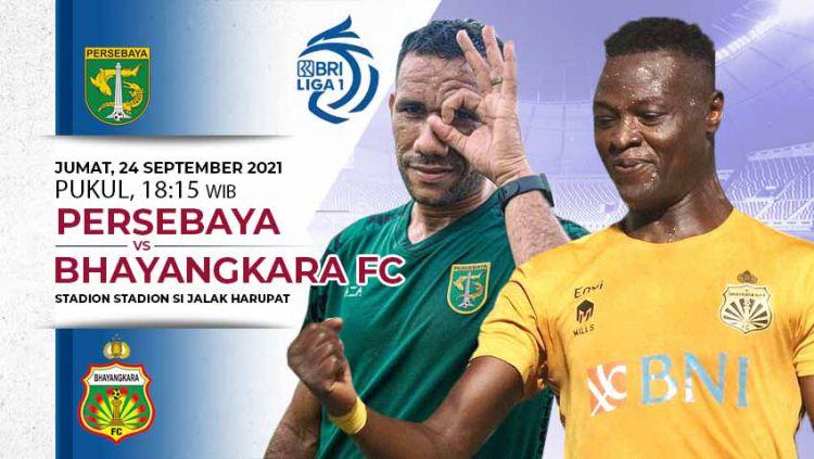 Persebaya akan menghadapi Bhayangkara FC dalam lanjutan Liga 1 2021/22 di Stadion Si Jalak Harupat, Jumat (24/09/21). Copyright: © INDOSPORT