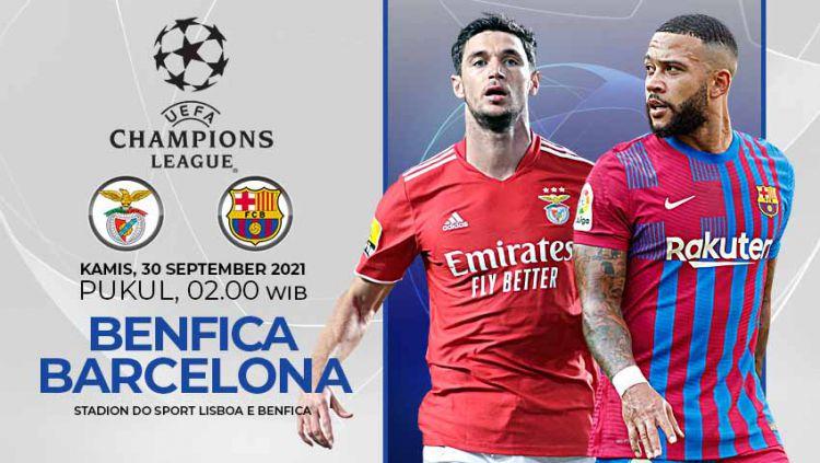 Berikut prediksi pertandingan Liga Champions antara Benfica vs Barcelona, Kamis (30/09/21) dini hari WIB. Copyright: © Grafis: Yuhariyanto/Indosport.com