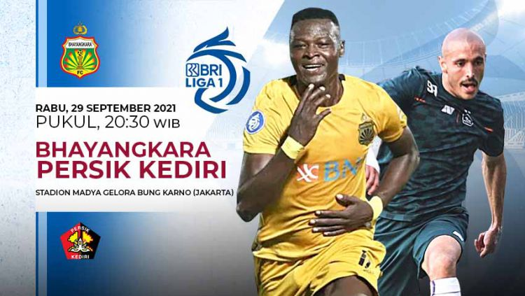 Prediksi pertandingan antara Bhayangkara FC vs Persik Kediri pada pekan kelima Liga 1 di Stadion Madya Senayan, Rabu (29/09/21). Copyright: © Grafis: Yuhariyanto/Indosport.com