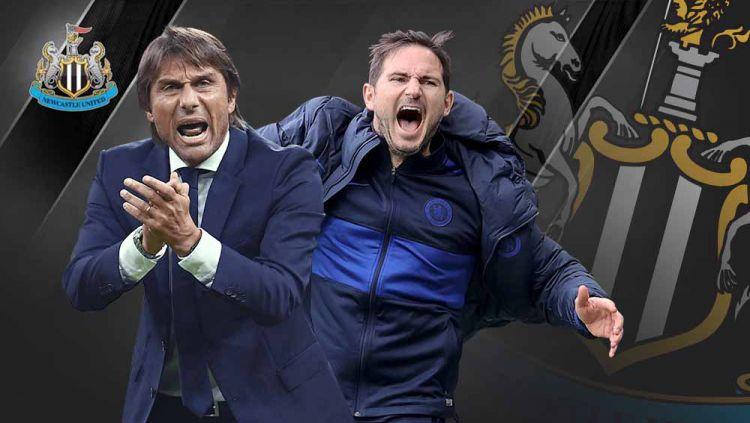 Newcastle United dikaitkan dengan dua mantan juru taktik Chelsea, Frank Lampard dan Antonio Conte. Siapakah sosok yang lebih pas untuk membesut The Magpies? Copyright: © Grafis:Yanto/Indosport.com