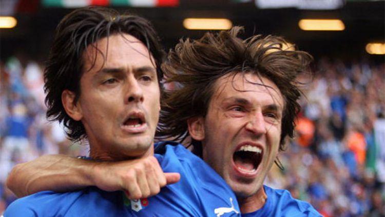 Tempuh jalan panjang dalam karier kepelatihan, eks AC Milan Filippo Inzaghi anggap Andrea Pirlo tidak selevel dengannya. Copyright: © Getty Images